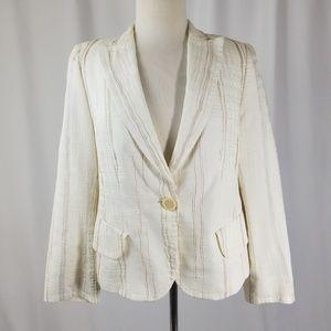 Akris Punto Linen Silk Blend Striped Blazer Sz 12